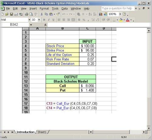 Excel option trading models