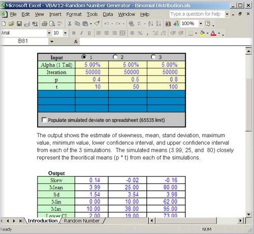 Binomial Distribution. Random Numbers Generator and Statistics Set.